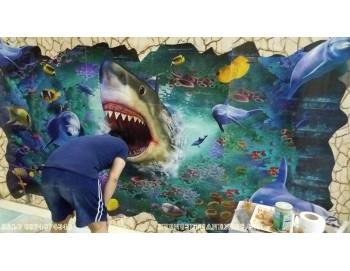 Thi công tranh gach 3D cá mập