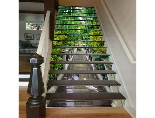 Cầu thang 3D thác nước hàng cây