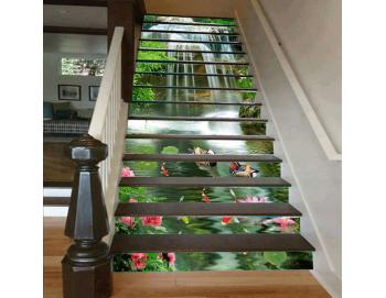 Cầu thang 3D thác nước hồ cá 47