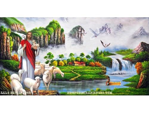 Tranh gạch  3d chúa gieessu và đàn cừu 156