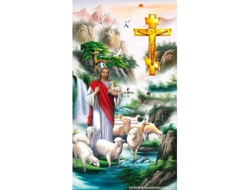 Tranh gạch 3d chúa giê su và đàn cừu 159