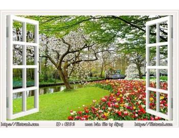 Tranh 3d cửa sổ phong cảnh đẹp 52