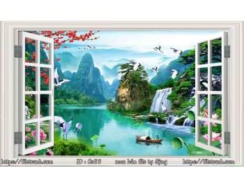 Tranh 3d cửa sổ phong cảnh đẹp 53