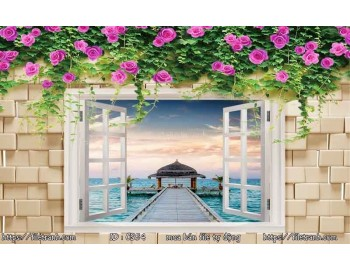Tranh 3d cửa sổ phong cảnh đẹp 54