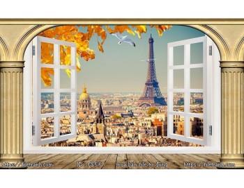 Tranh 3d cửa sổ phong cảnh đẹp 56