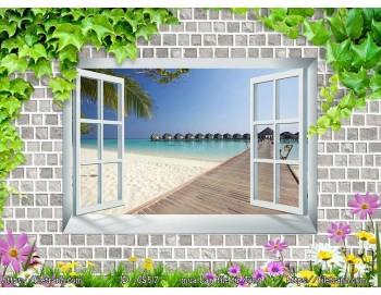 Tranh 3d cửa sổ phong cảnh đẹp 57