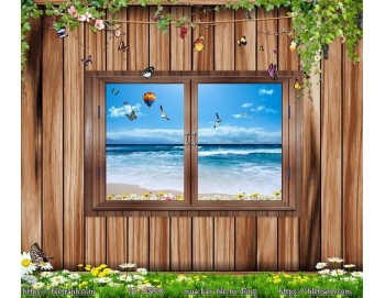 Tranh 3d cửa sổ phong cảnh đẹp 58