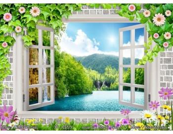 Tranh 3d cửa sổ phong cảnh đẹp 59
