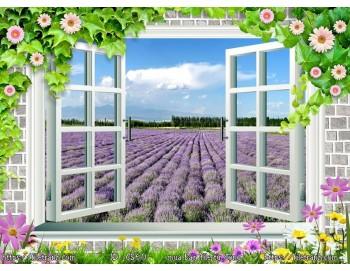 Tranh 3d cửa sổ phong cảnh đẹp 60