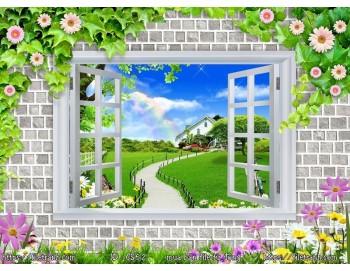 Tranh 3d cửa sổ phong cảnh đẹp 62