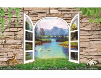 Tranh 3d cửa sổ phong cảnh đẹp 67