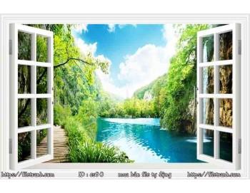 Tranh 3d cửa sổ phong cảnh đẹp 90