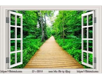 Tranh 3d cửa sổ phong cảnh đẹp 92