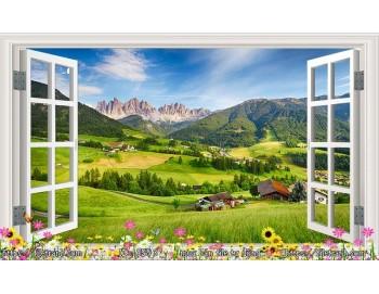 Tranh 3d cửa sổ phong cảnh đẹp 93