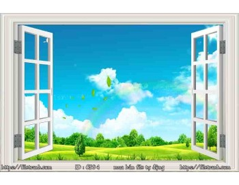 Tranh 3d cửa sổ phong cảnh đẹp 94