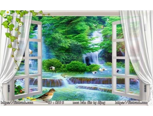Tranh 3d cửa sổ phong cảnh đẹp 95