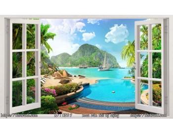 Tranh 3d cửa sổ phong cảnh đẹp 97