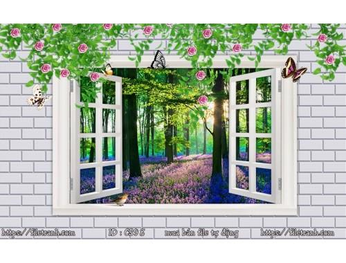 Tranh 3d cửa sổ phong cảnh đẹp 98