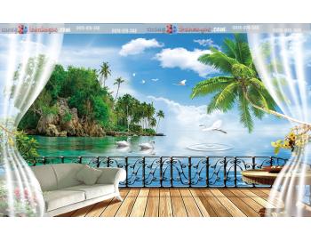 Tranh gạch 3d cửa sổ bãi biển cây dừa
