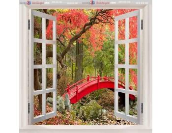 Tranh gạch 3d cửa sổ cây cầu 41