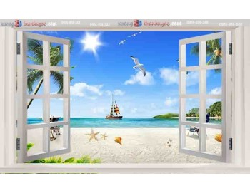 Tranh gạch 3d cửa sổ bãi biển cây dừa 42