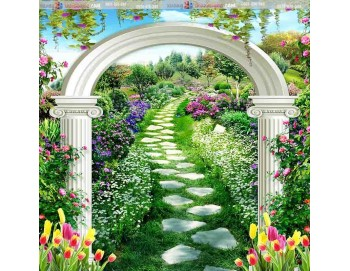 tranh gạch 3d vòm hoa vườn hoa 3506