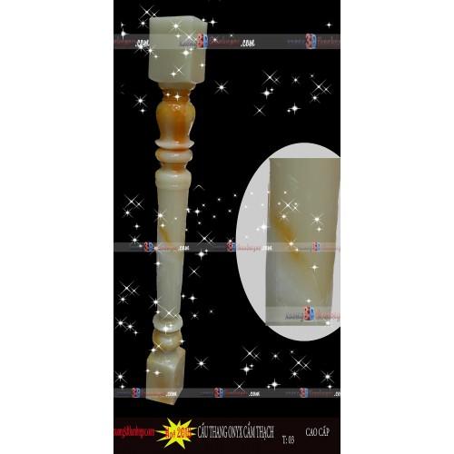 Cầu thang đá cẩm thạch ngọc bích trụ 01 - Vàng