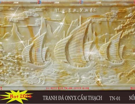 Tranh đá phù điêu onyx thuận buồm xuôi gió cẩm thạch