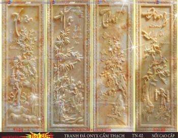 Tranh đá onyx phù điêu tứ quý màu vân đá cẩm thạch