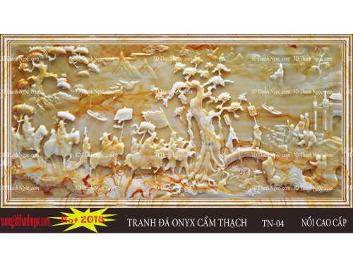 Tranh đá onyx 3D nổi vinh quy bái tổ đá cẩm thạch vàng