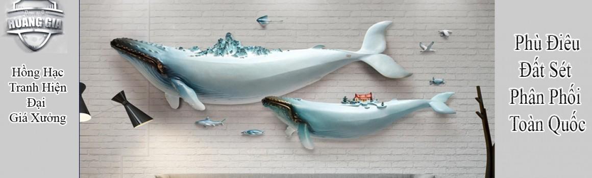 tranh phù điêu nổi cá voi