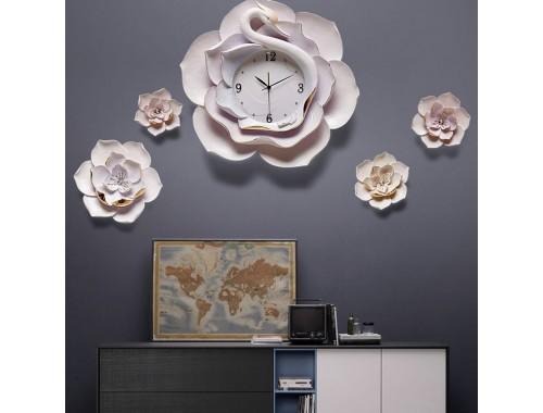 Đồng hồ treo tường 3D trang trí hoa