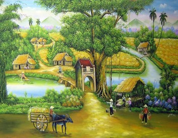 Tranh 3D đồng quê cổng làng 53