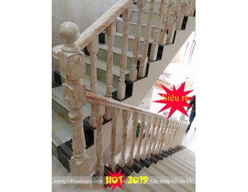 Công trình thực tế cầu thang gỗ vân đá