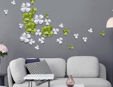 Họa tiết 3D lá xanh decor phòng khách cao cấp