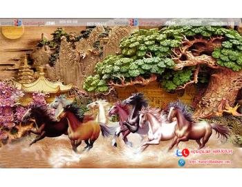 Tranh gạch 3D mã đáo thành công điêu khắc cây tùng ngôi chùa