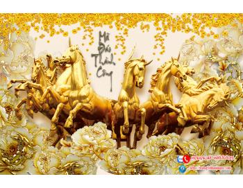 tranh mã đáo thành công ngựa vàng 205