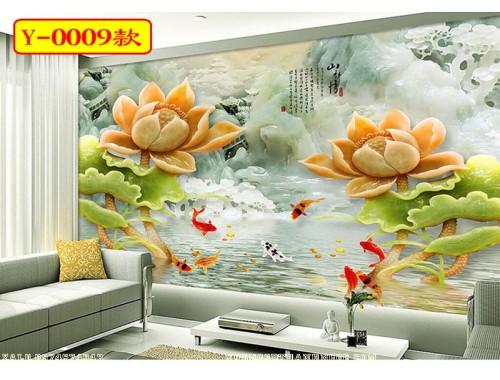 Tranh giả ngọc 3D hoa sen cá chép