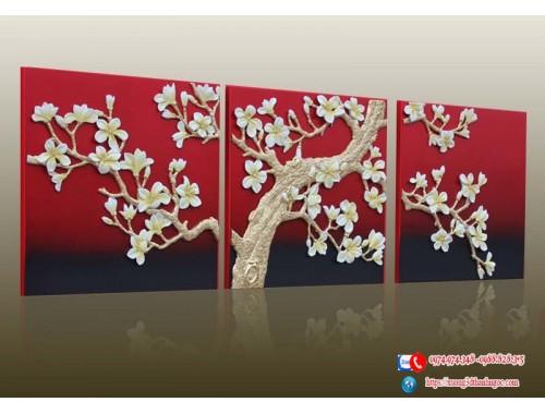 Tranh phù điêu composite hoa mộc lan 3D