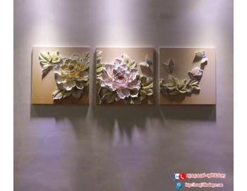 Tranh phù điêu hoa mẫu đơn nổi 3d