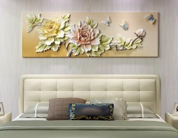 Tranh treo tường phù điêu hoa mẫu đơn liền