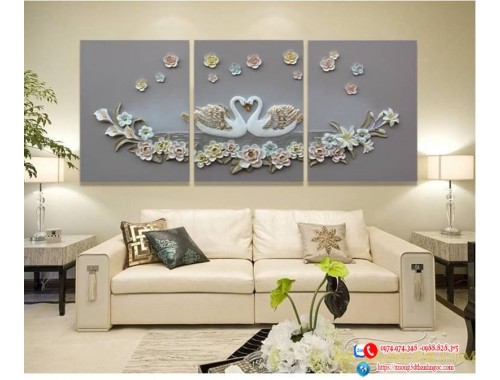 Tranh treo tường phù điêu đôi thiên nga bên hồ hạnh phúc