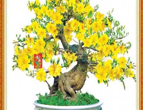 Tranh 3D cây mai vàng thịnh vượng