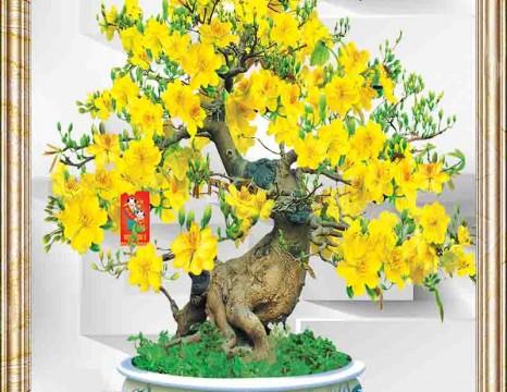 Tranh cây mai vàng 3D thịnh vượng 4