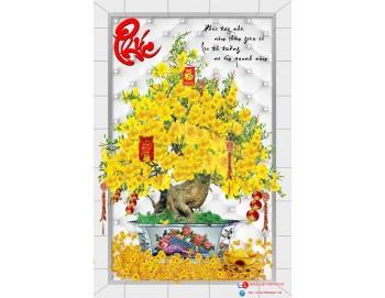 Tranh gạch 3D cây mai vàng chữ phúc 8