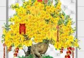 Những mẫu tranh cây mai vàng 3D đẹp đón tết