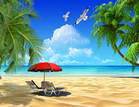 Tranh 3d phòng khách bãi biển cây dừa