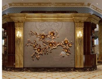 Tranh sắt decor hoa mẫu đơn hiện đại