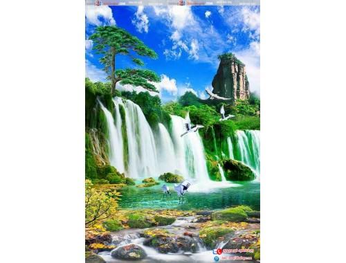tranh gạch 3d thác nước đứng 93