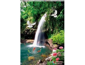 Tranh gạch 3d thác nước cá 97